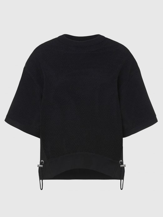 Made from substantial loopback cotton jersey, this sweatshirt is defined by a boxy fit and cape-like overlays. It features double-sided metal eyelets and rings piercing the edges. Complete with a raw-cut boat neck and hem. A00588_0AAZY_9XX-1