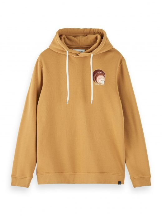 Hooded sweat with rib neck construction