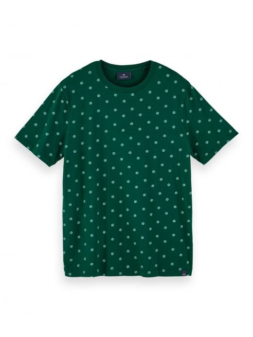 Covered in a cheery all-over print this short sleeve t-shirt for men is made from cotton so you'll stay cool all season.